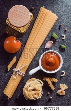 pasta and food ingredient  on dark background