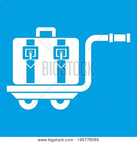 Baggage cart icon white isolated on blue background vector illustration
