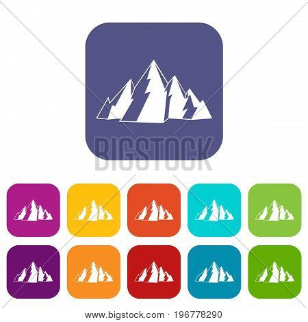 Mountain icons set vector illustration in flat style in colors red, blue, green, and other