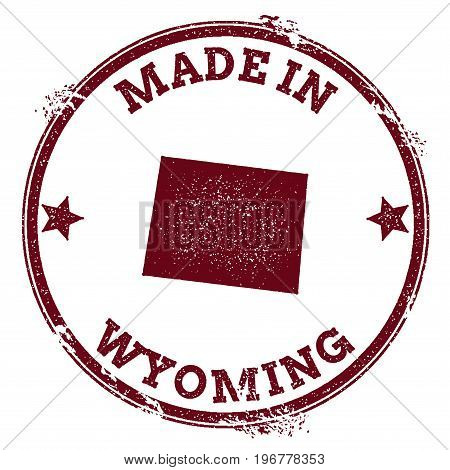 Wyoming Vector Seal. Vintage Usa State Map Stamp. Grunge Rubber Stamp With Made In Wyoming Text And