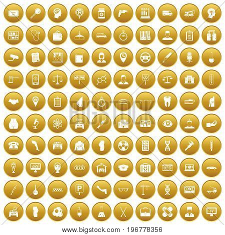 100 business day icons set in gold circle isolated on white vector illustration