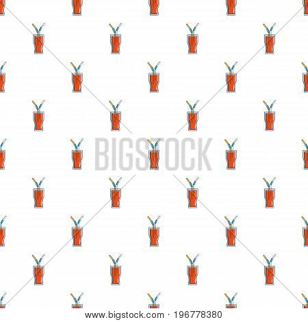 Drink in a glass cup with two straws pattern seamless repeat in cartoon style vector illustration