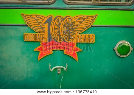HONG KONG, CHINA - JANUARY 22, 2017: Informative sign of victoria peak tower and tram in Hong Kong.