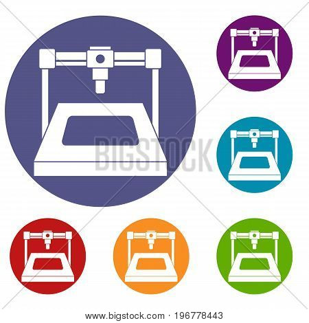 3D printer icons set in flat circle red, blue and green color for web