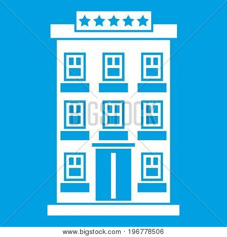 Hotel building icon white isolated on blue background vector illustration