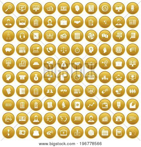 100 business people icons set in gold circle isolated on white vector illustration