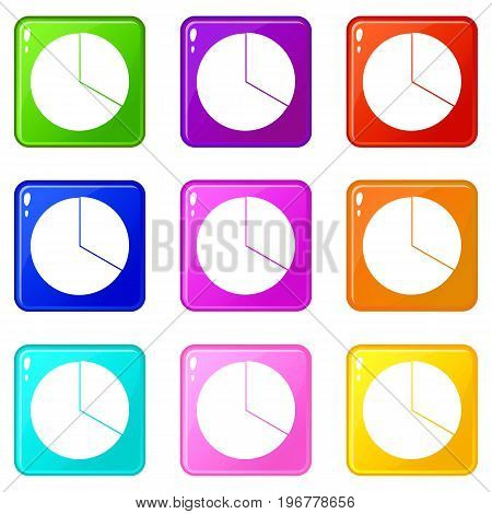 Circle chart infographic icons of 9 color set isolated vector illustration