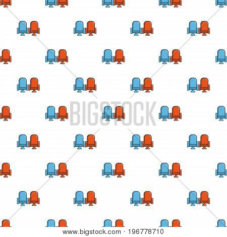 Red and blue cinema armchairs pattern seamless repeat in cartoon style vector illustration