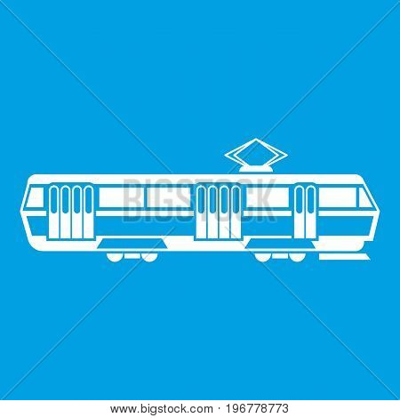 Tram icon white isolated on blue background vector illustration
