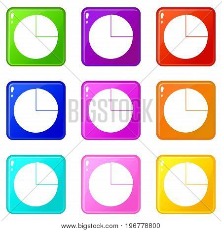 Graphs chart statistic icons of 9 color set isolated vector illustration