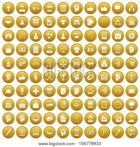 100 business strategy icons set in gold circle isolated on white vector illustration