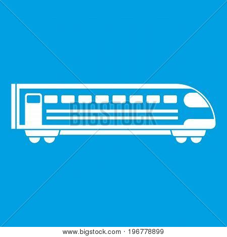 Train icon white isolated on blue background vector illustration