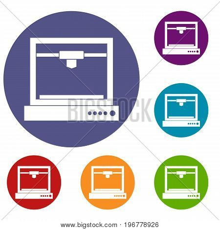 3d printer model icons set in flat circle red, blue and green color for web