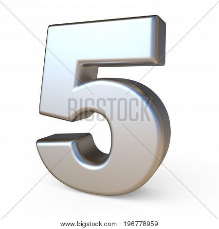Metal Font Number Five 5 3D