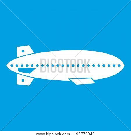 Dirigible balloon icon white isolated on blue background vector illustration