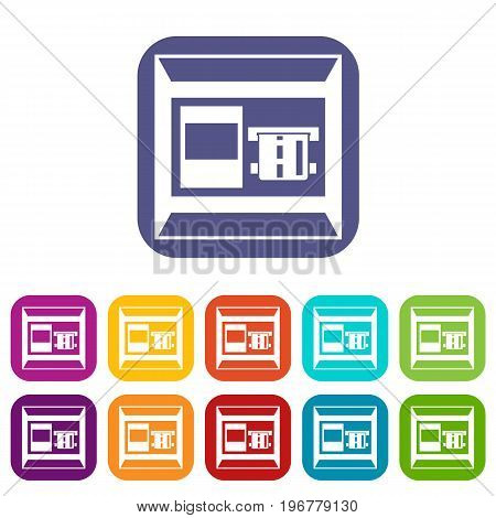 ATM icons set vector illustration in flat style in colors red, blue, green, and other
