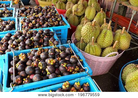 mangosteen and durian in wholesale fruit market in Thailand