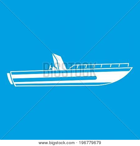 Motor speed boat icon white isolated on blue background vector illustration
