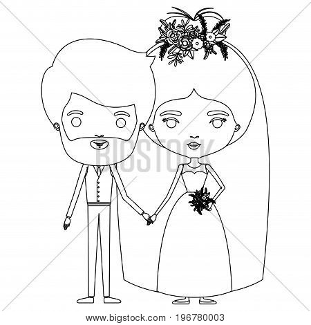 silhouette caricature newly married couple bearded groom with formal wear and bride with bun hairstyle vector illustration