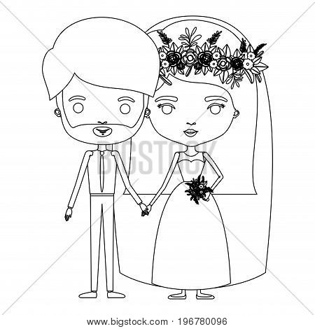 silhouette caricature newly married couple bearded groom with formal wear and bride with straight medium hairstyle vector illustration