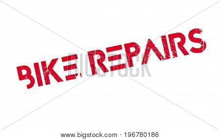 Bike Repairs rubber stamp. Grunge design with dust scratches. Effects can be easily removed for a clean, crisp look. Color is easily changed.