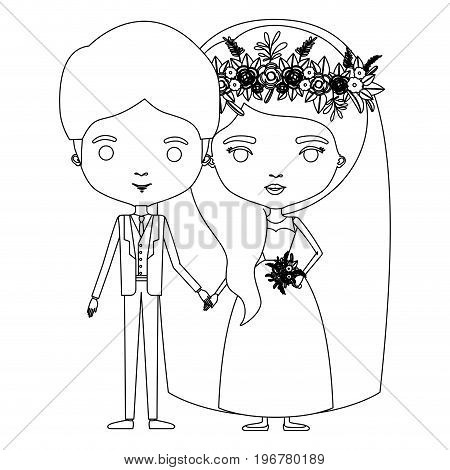 silhouette caricature newly married couple groom with formal wear and bride with wavy side long hairstyle vector illustration