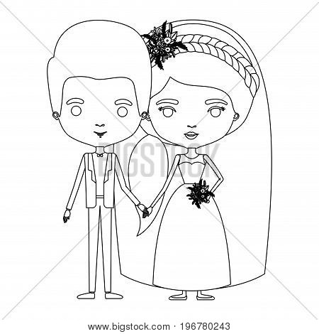 silhouette caricature newly married couple groom with formal wear and bride with ponytail side long hairstyle vector illustration