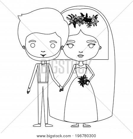 silhouette caricature newly married couple groom with formal wear and bride with straight short hairstyle vector illustration