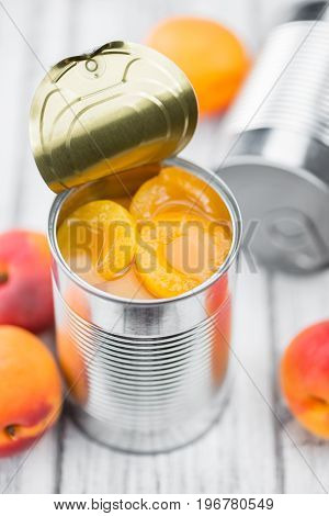 Pickled Apricots (selective Focus) On Vintage Wooden Background