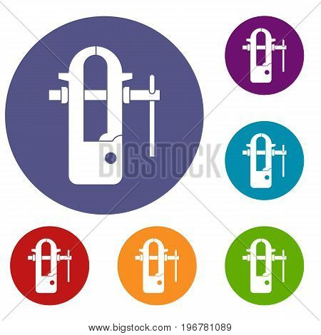 Blacksmiths vice icons set in flat circle red, blue and green color for web