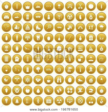100 child health icons set in gold circle isolated on white vector illustration