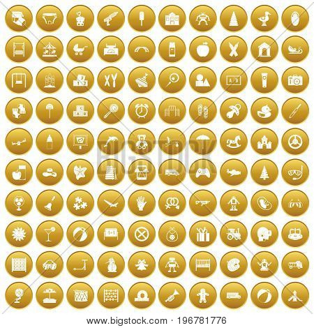 100 childhood icons set in gold circle isolated on white vector illustration