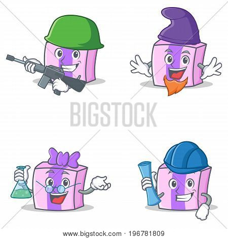 Set of gift character with army elf professor architect vector illustration