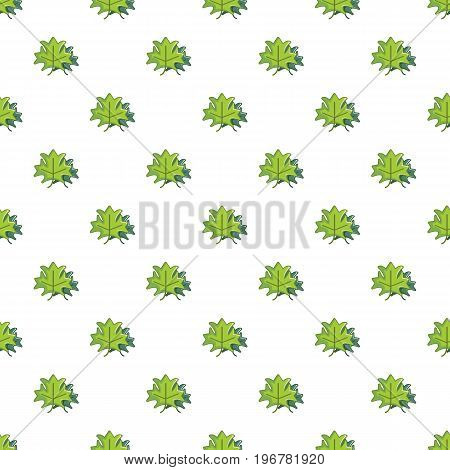 Green maple leaves pattern seamless repeat in cartoon style vector illustration