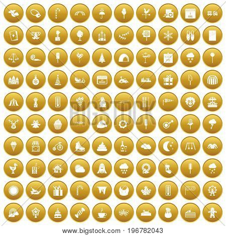 100 childrens parties icons set in gold circle isolated on white vector illustration