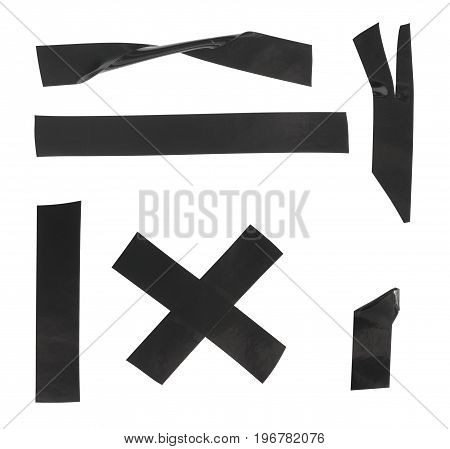 Set of black electrical tape on a white background isolated