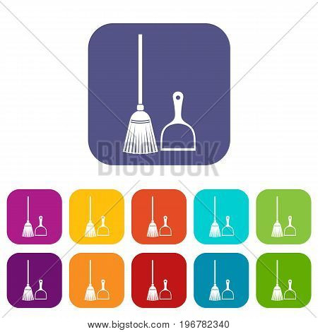 Broom and dustpan icons set vector illustration in flat style in colors red, blue, green, and other