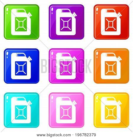 Jerrycan icons of 9 color set isolated vector illustration