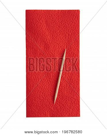 Red napkin on white background and toothpick isolated