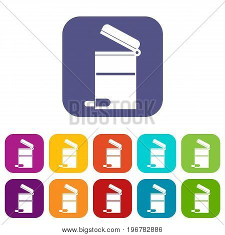 Steel trashcan icons set vector illustration in flat style in colors red, blue, green, and other