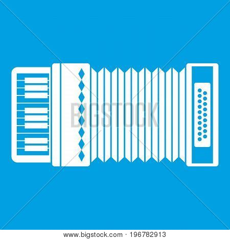 Accordion icon white isolated on blue background vector illustration