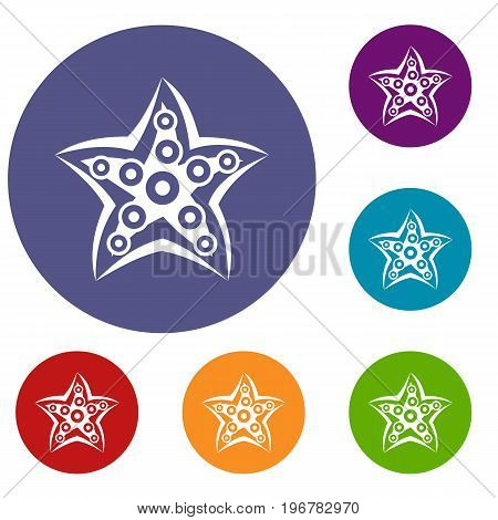 Starfish icons set in flat circle red, blue and green color for web