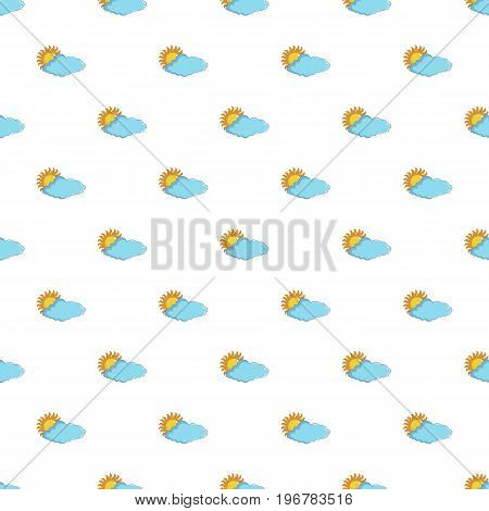 Sun and cloud pattern seamless repeat in cartoon style vector illustration