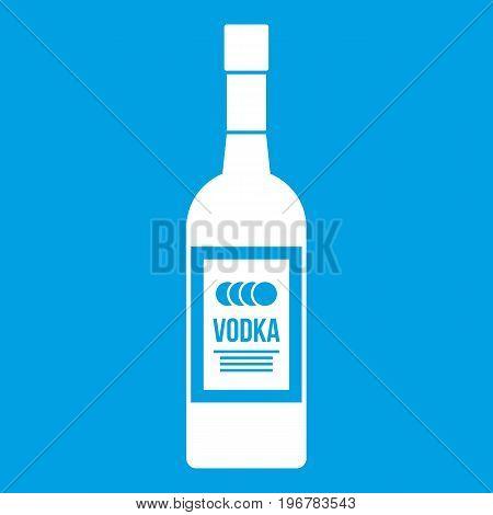 Bottle of vodka icon white isolated on blue background vector illustration