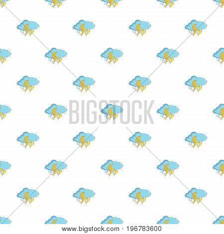 Blue cloud with lightnings and rain pattern seamless repeat in cartoon style vector illustration