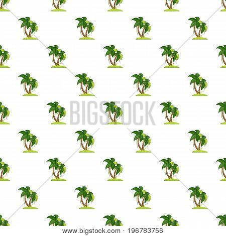 Palm tree pattern seamless repeat in cartoon style vector illustration