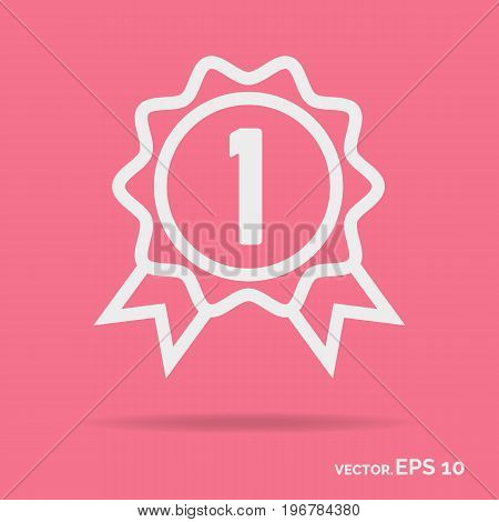 Award outline icon white color isolated on pink background