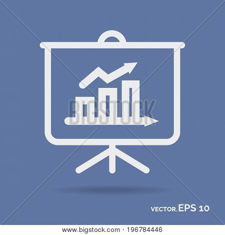 Business board outline icon white color isolated on cyan background