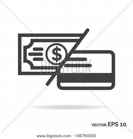 Money or card outline icon black color isolated on white background