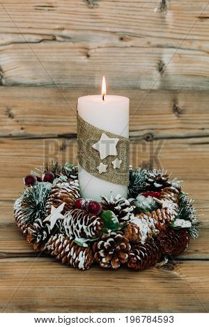 Beautiful Candles in home. Warm christmas decoration